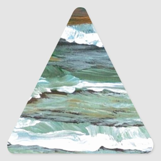 Ocean Comfort Beach Waves Surf Art Decor Gifts Triangle Stickers