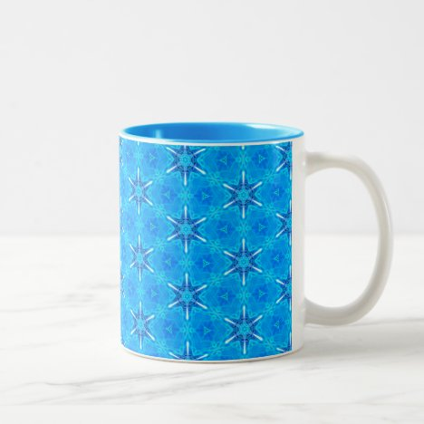 Ocean Compass, Snowflakes Dancing in Blue Two-Tone Coffee Mug