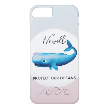 Beach Themed Ocean Conservation Ombre Marine Whale Typography iPhone 8/7 Case