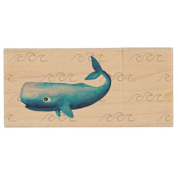 Beach Themed Ocean Conservation Ombre Marine Whale Typography Wood Flash Drive