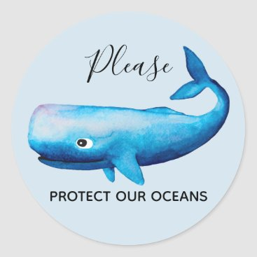 Beach Themed Ocean Conservation Watercolor Whale Sea Typography Classic Round Sticker
