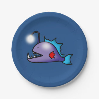 ocean deep sea light fish paper plate