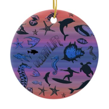 Hawaiian Themed Ocean Design Ceramic Ornament