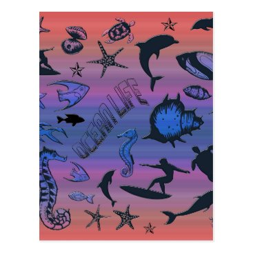 Hawaiian Themed Ocean Design Postcard