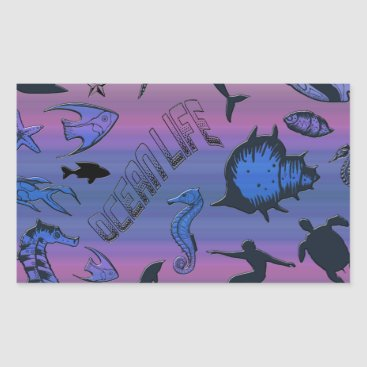 Hawaiian Themed Ocean Design Rectangular Sticker
