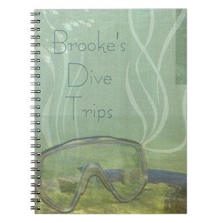 Ocean Dive Mask Dive Trip Book Personalized Note Book