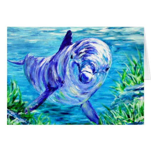 Ocean Dolphins Painting Dolphin Underwater Picture Greeting Cards ...