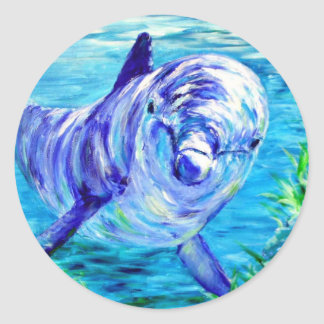 Ocean Dolphins Painting Dolphin Underwater Picture Classic Round Sticker