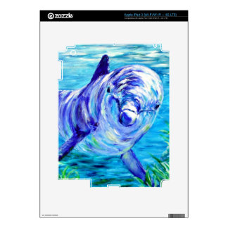 Ocean Dolphins Painting Dolphin Underwater Picture Decals For iPad 3
