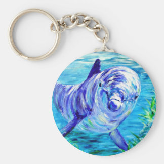 Ocean Dolphins Painting Dolphin Underwater Picture Keychain