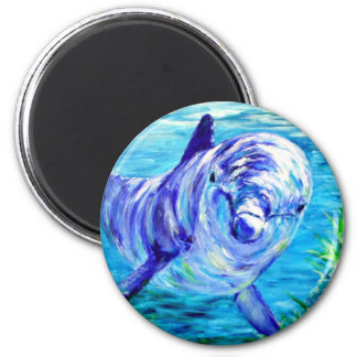 Ocean Dolphins Painting Dolphin Underwater Picture 2 Inch Round Magnet