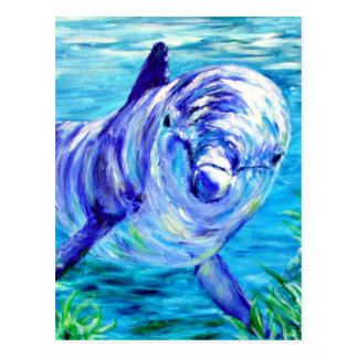 Ocean Dolphins Painting Dolphin Underwater Picture Postcard