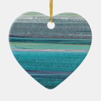 Ocean Double-Sided Heart Ceramic Christmas Ornament