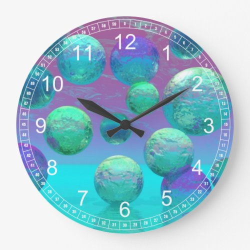 Ocean Dreams - Abstract Aqua &amp&#x3B; Violet Ocean Clock