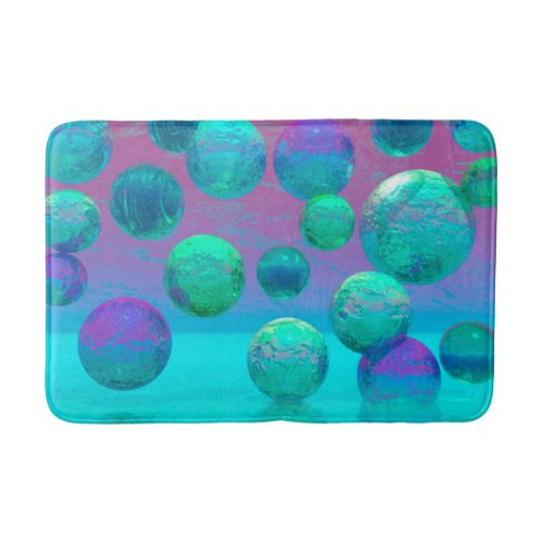 Ocean Dreams, Abstract Aqua Violet Ocean Fantasy Bathroom Mat