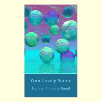 Ocean Dreams, Abstract Aqua Violet Ocean Fantasy Double-Sided Standard Business Cards (Pack Of 100)