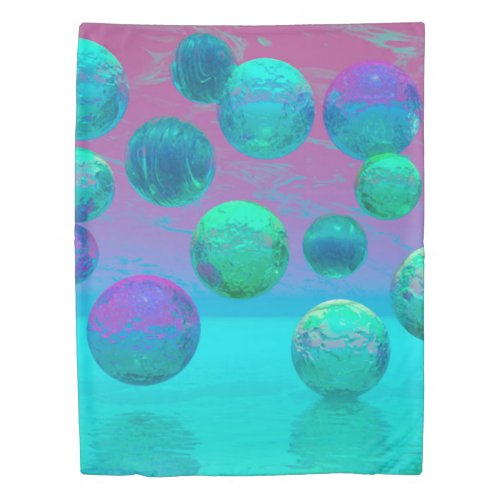 Ocean Dreams, Abstract Aqua Violet Ocean Fantasy Duvet Cover