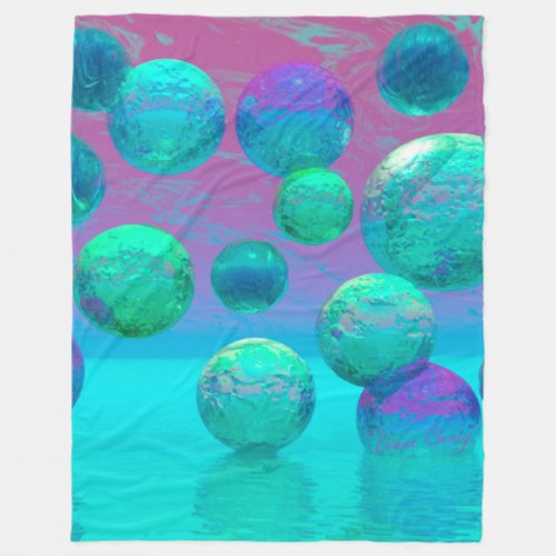 Ocean Dreams, Abstract Aqua Violet Ocean Fantasy Fleece Blanket