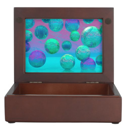 Ocean Dreams, Abstract Aqua Violet Ocean Fantasy Keepsake Box