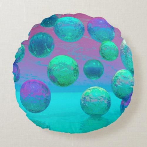 Ocean Dreams, Abstract Aqua Violet Ocean Fantasy Round Pillow