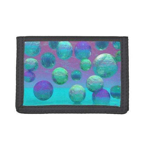 Ocean Dreams, Abstract Aqua Violet Ocean Fantasy Tri-fold Wallet