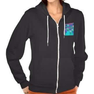 Ocean Dreams, Abstract Aqua Violet Ocean Fantasy Hooded Sweatshirt