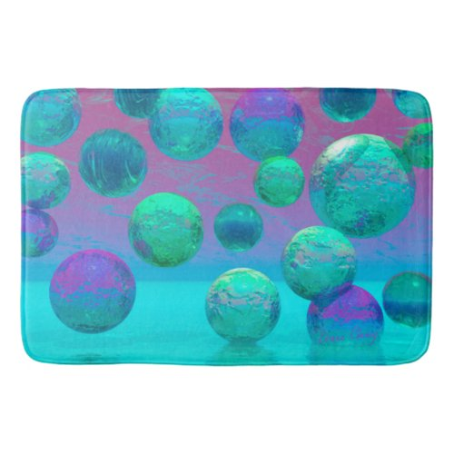 Ocean Dreams, Aqua and Violet Ocean Fantasy Bathroom Mat