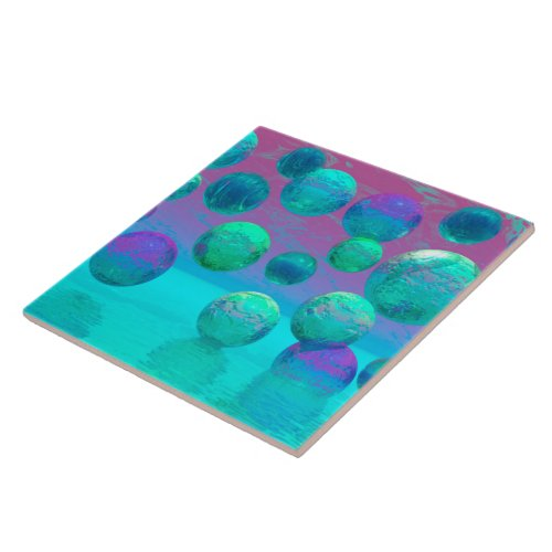 Ocean Dreams - Aqua and Violet Ocean Fantasy Ceramic Tile