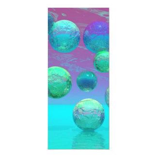 "Ocean Dreams - Aqua and Violet Ocean Fantasy 4"" X 9.25"" Invitation Card"