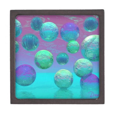 Ocean Dreams - Aqua and Violet Ocean Fantasy Jewelry Box