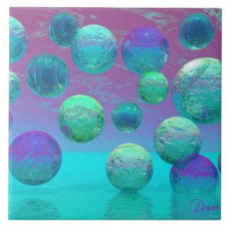 Ocean Dreams - Aqua and Violet Ocean Fantasy Large Square Tile