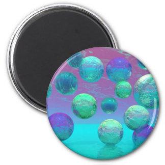 Ocean Dreams - Aqua and Violet Ocean Fantasy 2 Inch Round Magnet