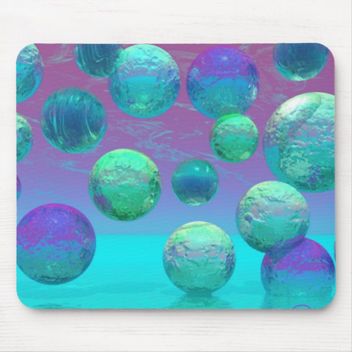 Ocean Dreams - Aqua and Violet Ocean Fantasy Mouse Pad