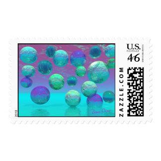 Ocean Dreams - Aqua and Violet Ocean Fantasy Postage Stamp