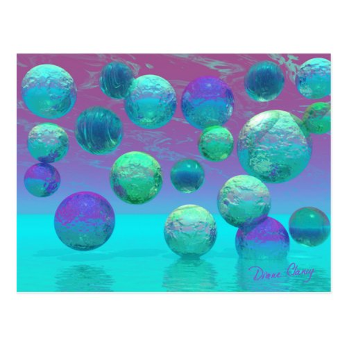 Ocean Dreams - Aqua and Violet Ocean Fantasy Postcard