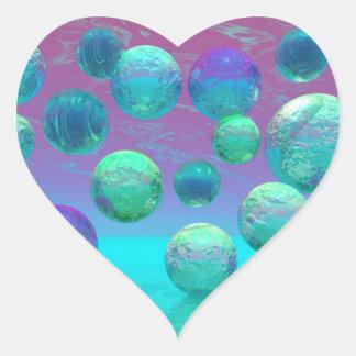 Ocean Dreams - Aqua and Violet Ocean Fantasy Heart Sticker