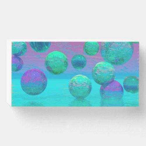 Ocean Dreams, Aqua and Violet Ocean Fantasy Wooden Box Sign