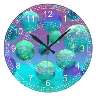 Ocean Dreams - Aqua & Violet Ocean Abstract Clock