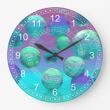 Ocean Dreams - Aqua & Violet Ocean Abstract Clock