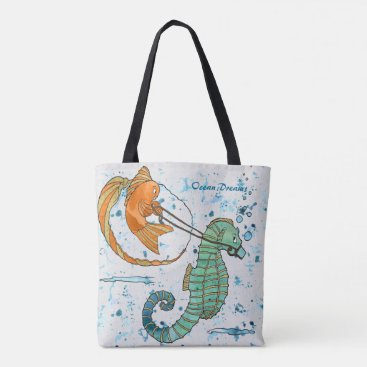 Beach Themed Ocean Dreams - Seahorse & Fish - Beach Bag/Handbag Tote Bag