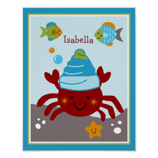 Ocean Dreams/Sealife/Crab Personalized Poster