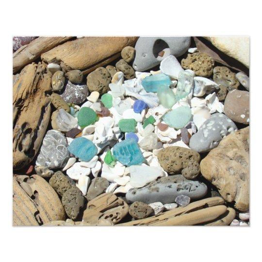 Ocean Driftwood Sea Glass Sea Shells Fossils art Photo Print