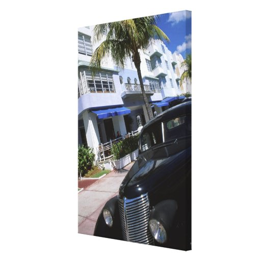 Ocean Drive, Miami Beach Florida Stretched Canvas Print