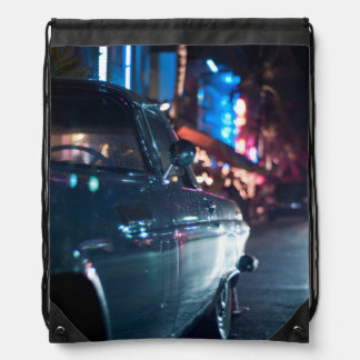 Ocean Drive vintage car Drawstring Backpacks