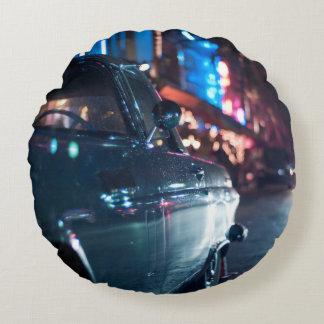 Ocean Drive vintage car Round Pillow