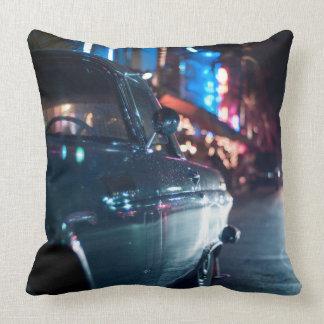 Ocean Drive vintage car Throw Pillow