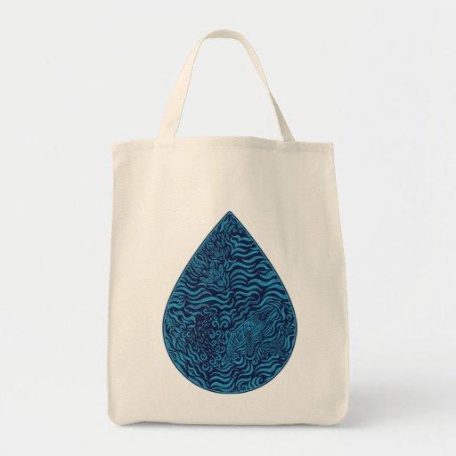 Ocean Family Drop Grocery Tote Bags