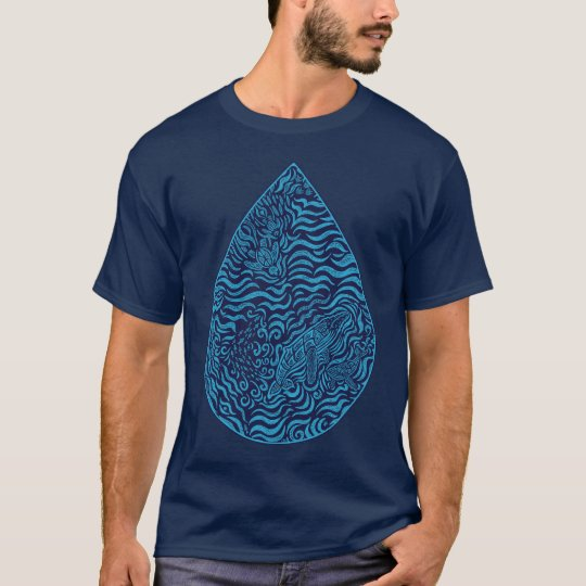 Ocean Family Drop Navy Blue T-Shirt