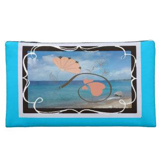 Ocean Fantasy Blue Sueded Medium Cosmetic Bag Makeup Bag