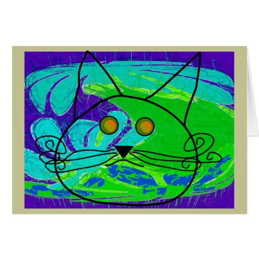 Ocean Fearing Cat Poster --Whimisical Cards